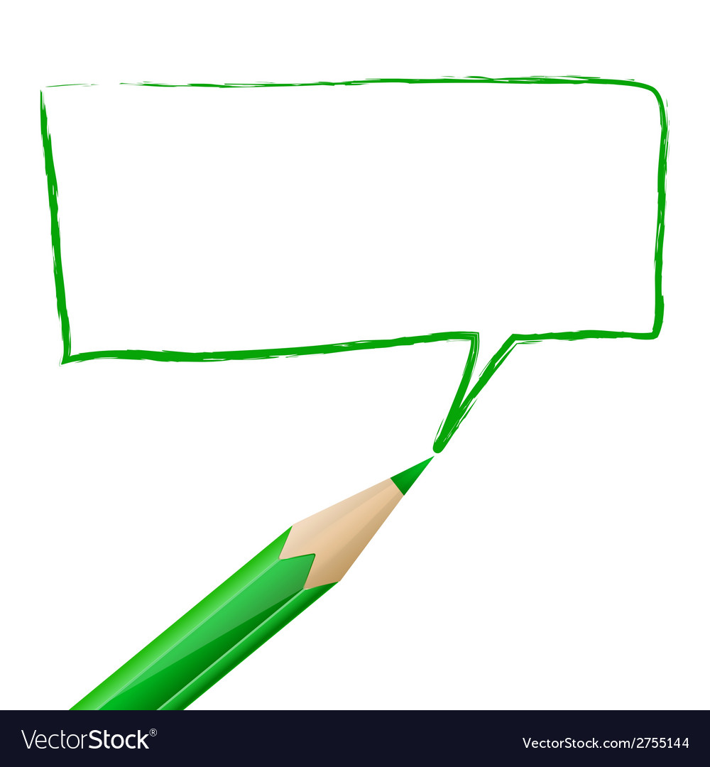 Green speech bubble drawn with pencil vector | Price: 1 Credit (USD $1)