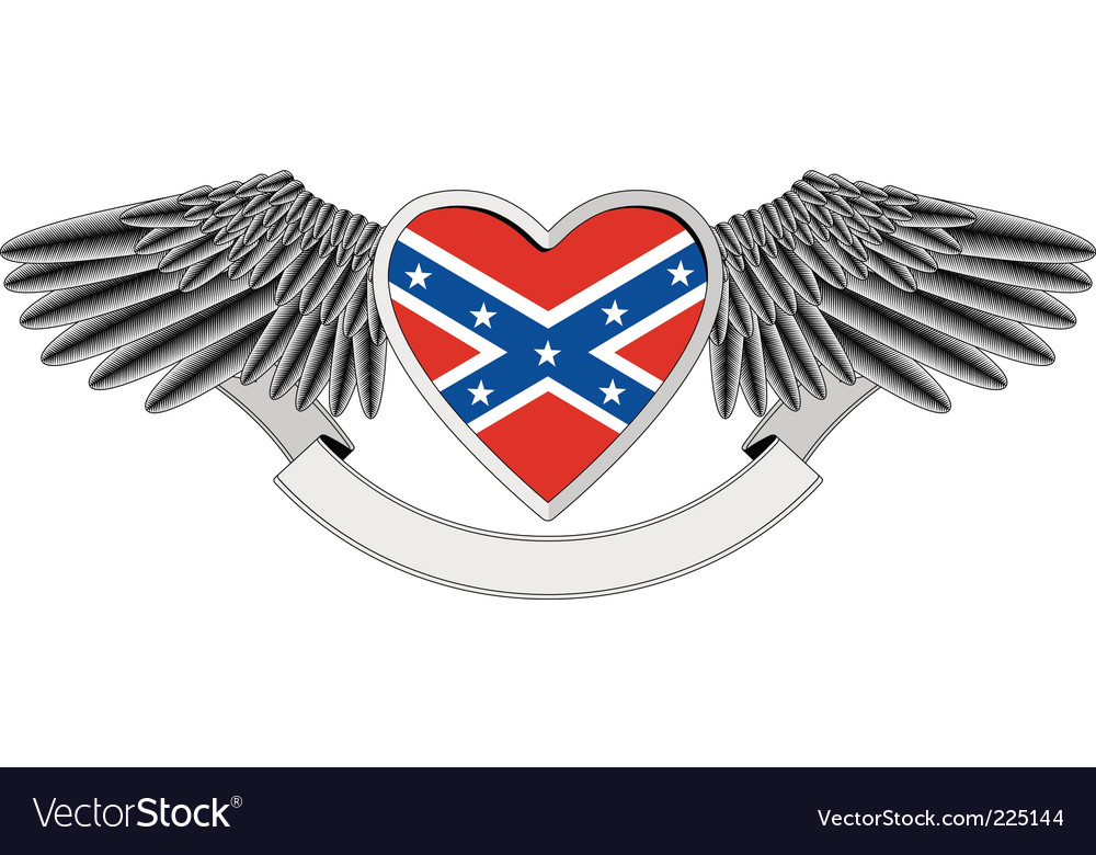 Heart with flag of confederacy vector | Price: 1 Credit (USD $1)