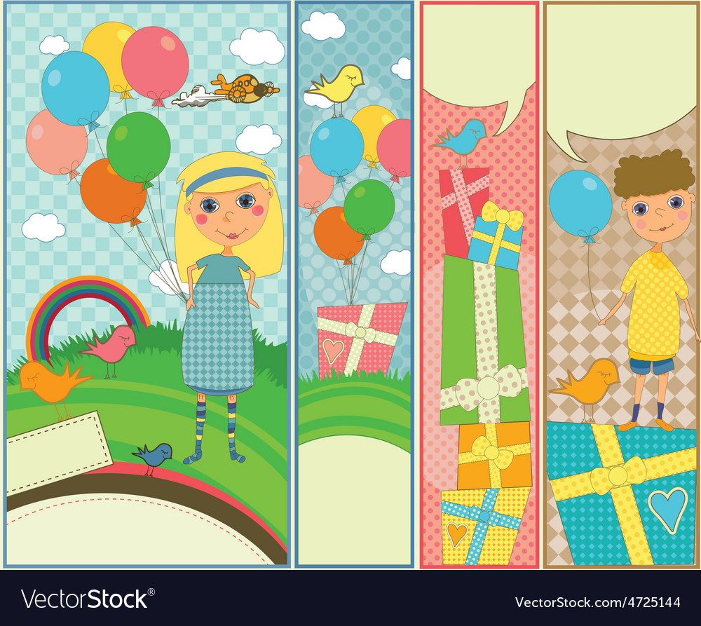Kids party and birthday banners vector | Price: 1 Credit (USD $1)