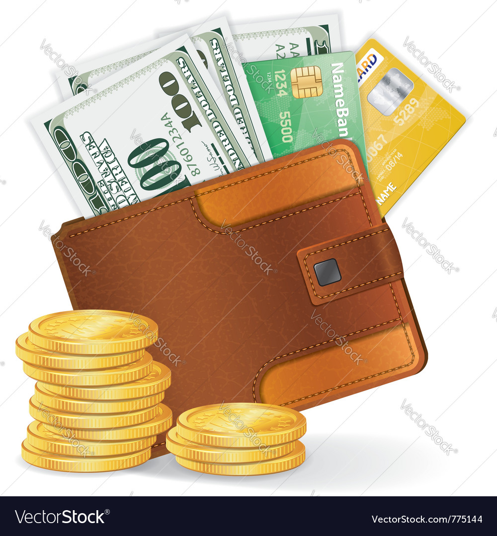 Leather wallet with dollars vector | Price: 3 Credit (USD $3)