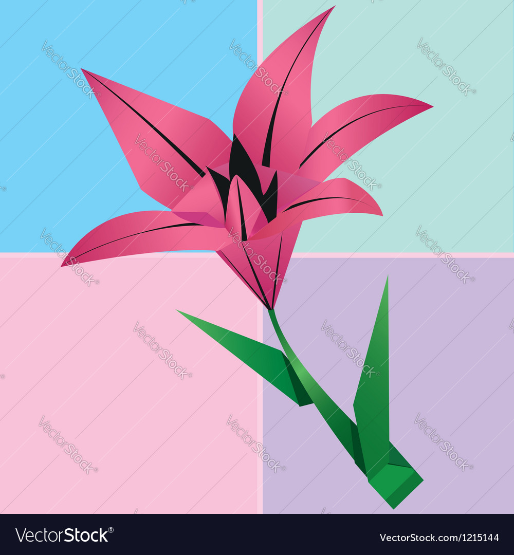 Origami lily flower card colorful floral vector | Price: 1 Credit (USD $1)