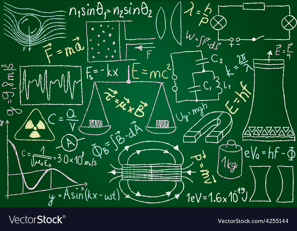 Physical doodles and equations on chalkboard vector | Price: 1 Credit (USD $1)