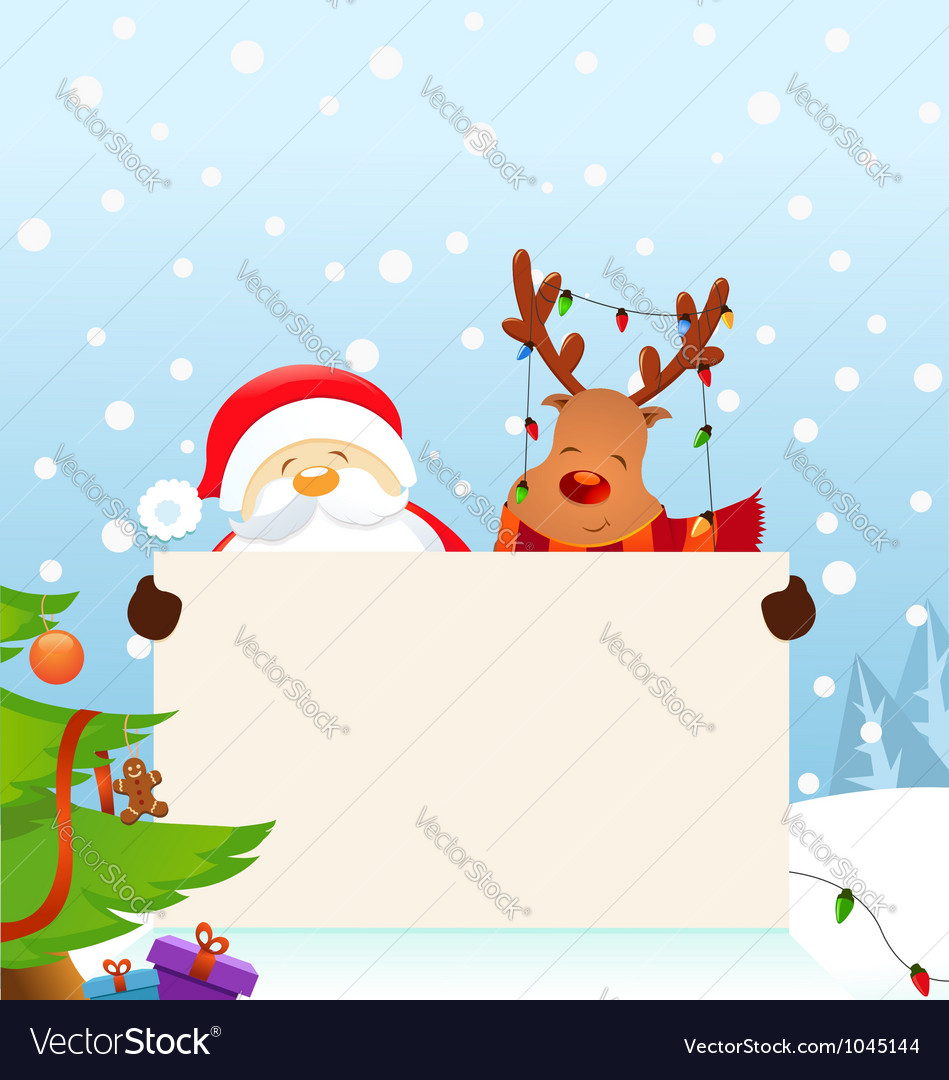 Reindeer santa message vector | Price: 3 Credit (USD $3)