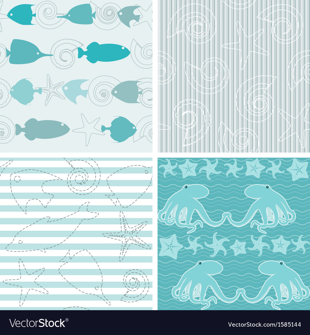 Sea life patterns collection 4 vector | Price: 1 Credit (USD $1)