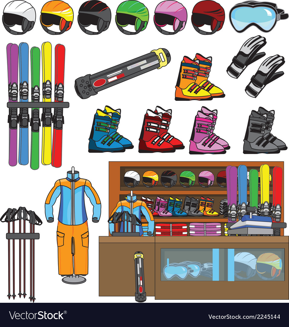Ski shop and equipment tools vector | Price: 1 Credit (USD $1)