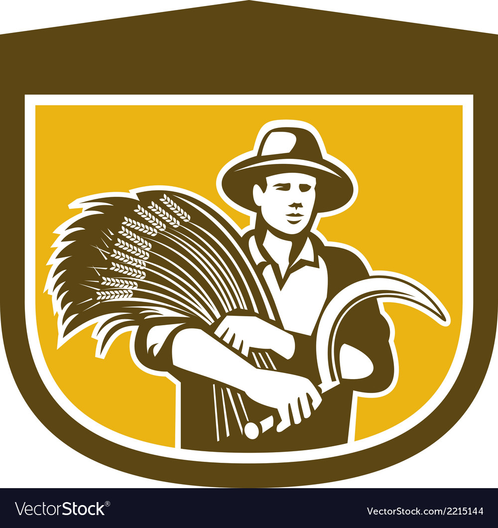 Wheat farmer with scythe and crop harvest retro vector | Price: 1 Credit (USD $1)
