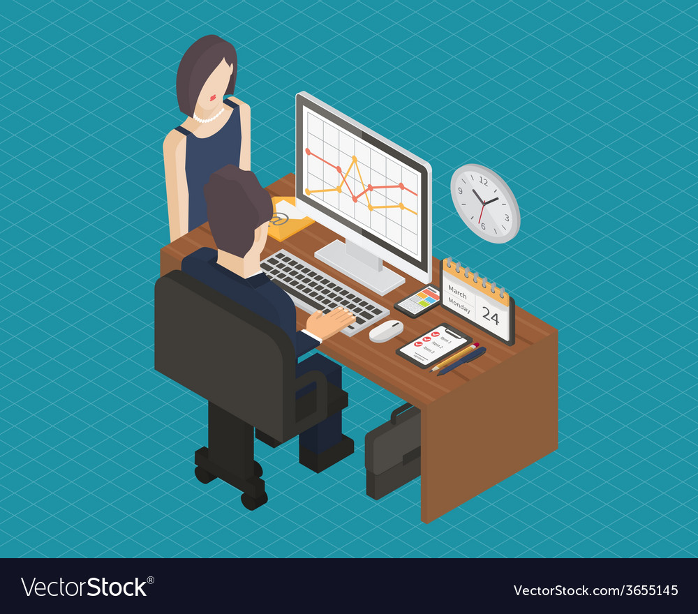 Business isometric 3d workplace vector | Price: 1 Credit (USD $1)