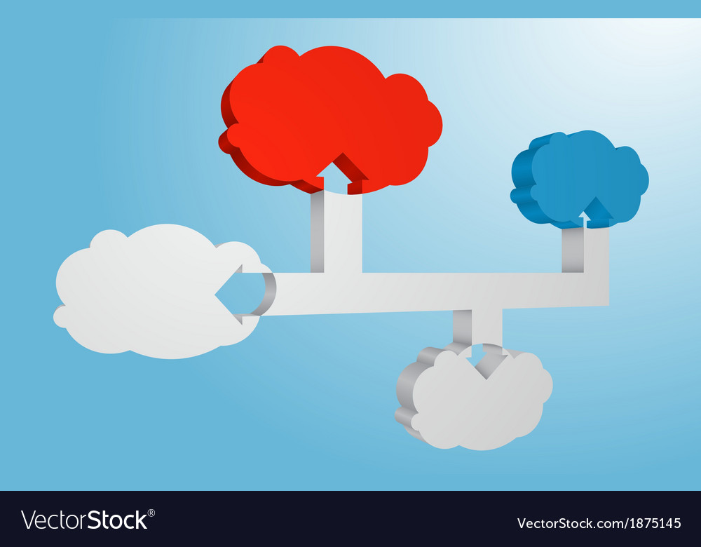 Connected 3d clouds abstract infographic element vector | Price: 1 Credit (USD $1)