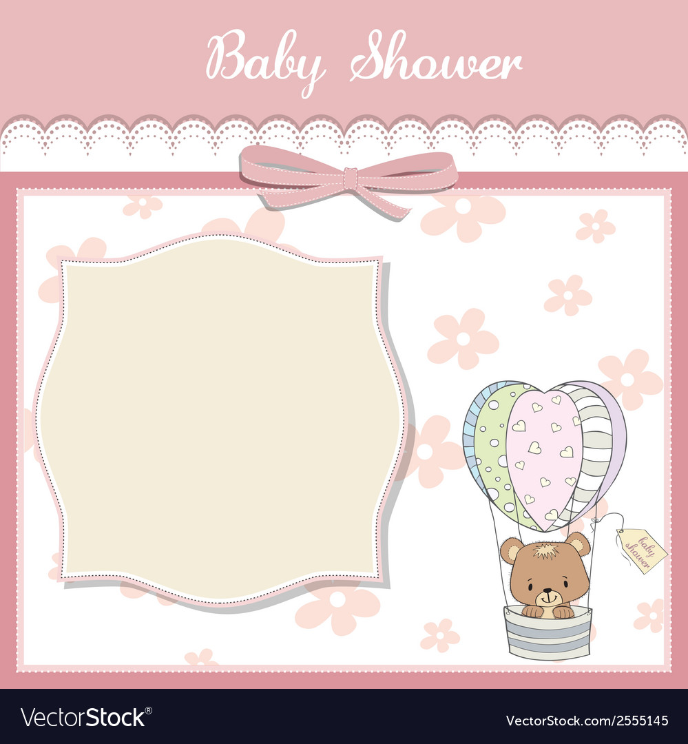 Delicate baby shower card with teddy bear vector | Price: 1 Credit (USD $1)