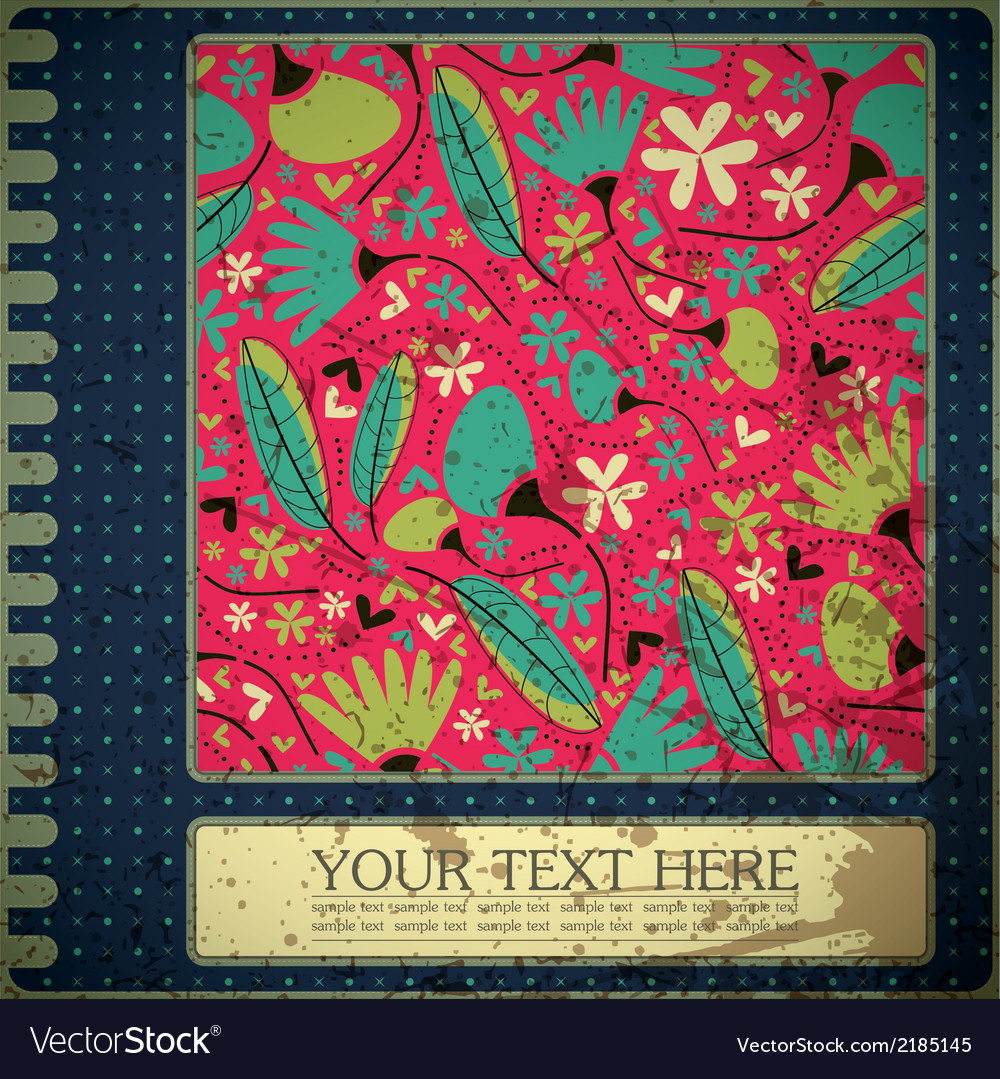 Grunge floral card with place for text vector | Price: 1 Credit (USD $1)