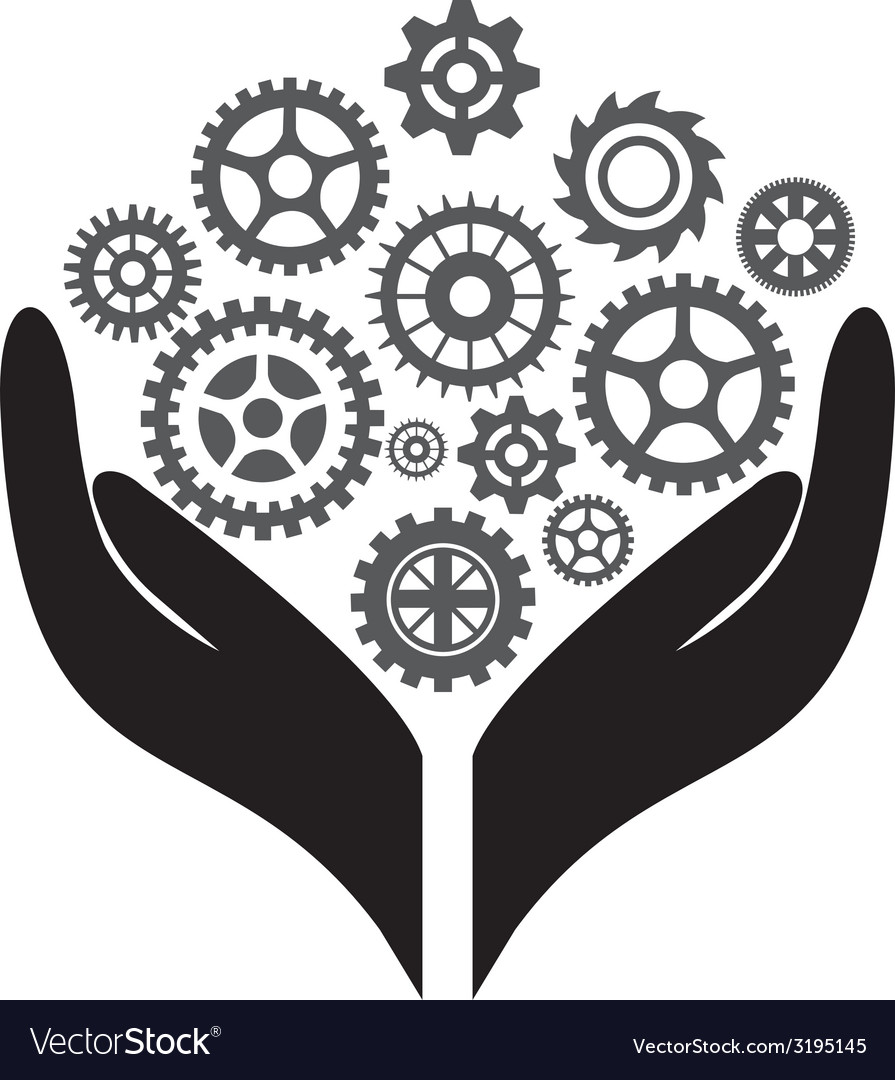 Hand with gears vector | Price: 1 Credit (USD $1)