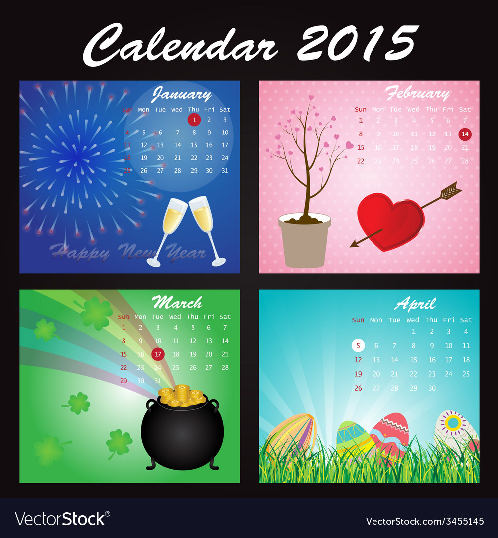 Holiday calendar of 2015 vector | Price: 1 Credit (USD $1)
