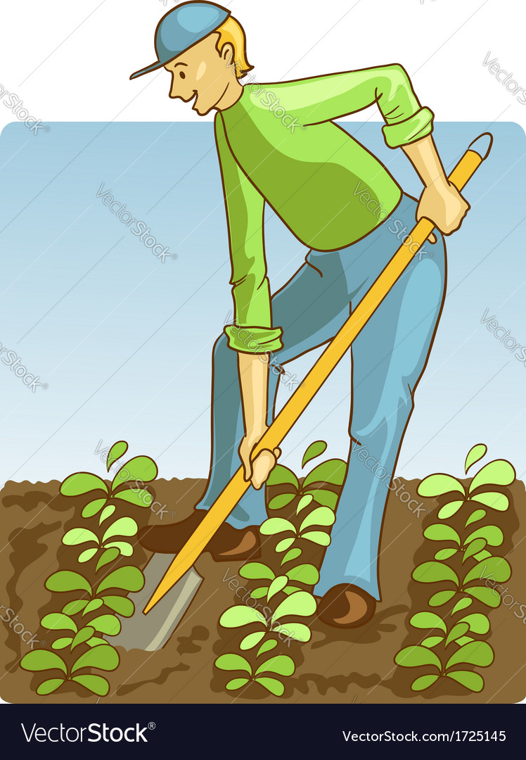 Man digging spring soil with shovel vector | Price: 1 Credit (USD $1)