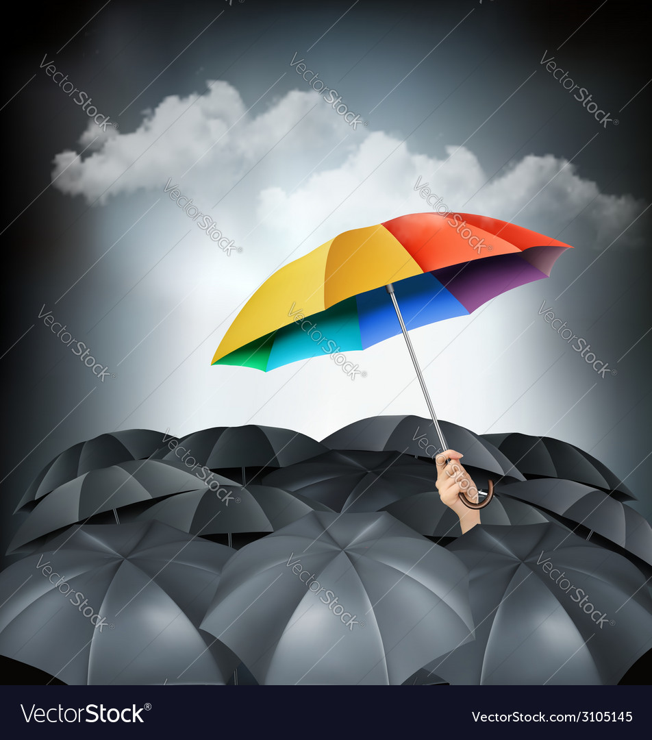 One rainbow umbrella standing out on a grey vector | Price: 1 Credit (USD $1)