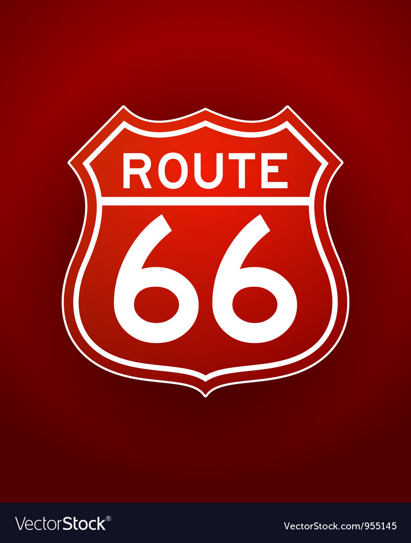 Red route 66 silhouette vector | Price: 1 Credit (USD $1)