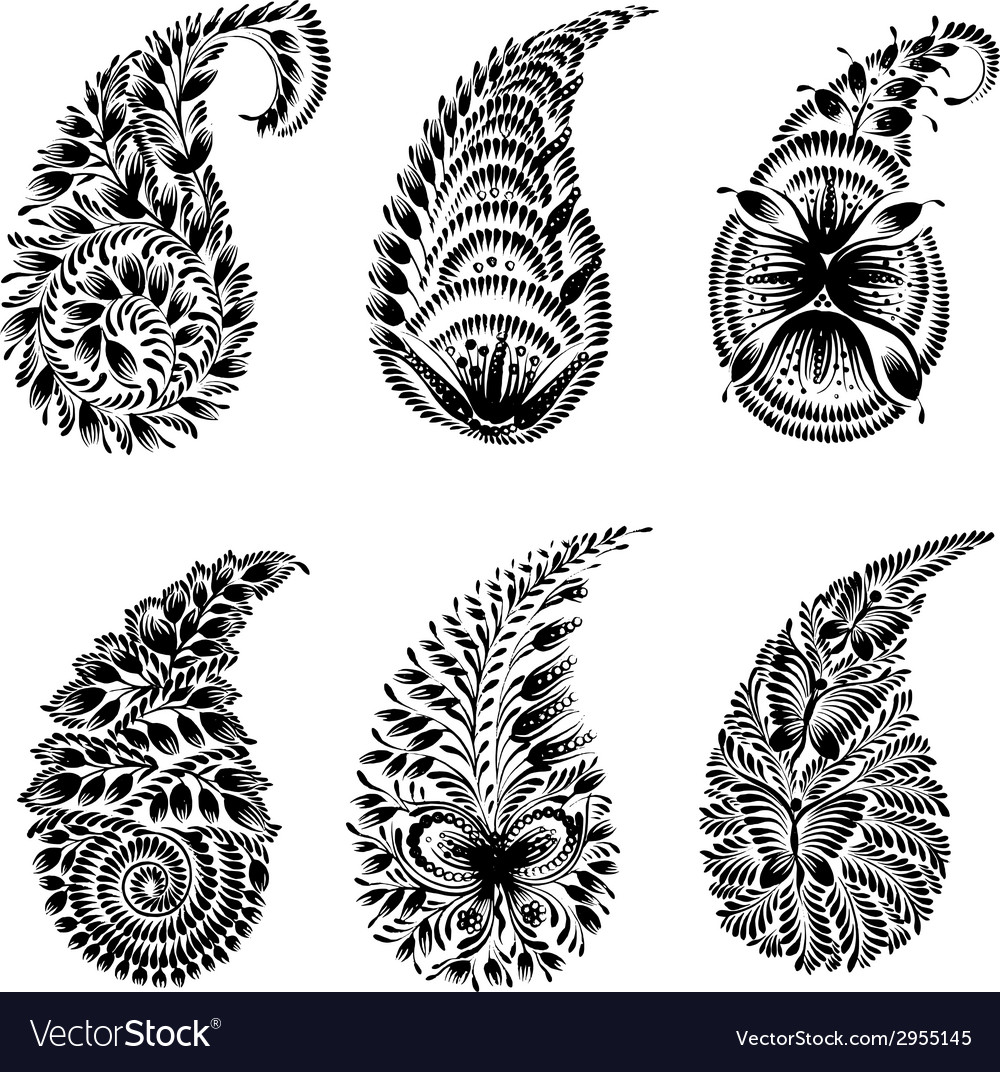 Set of black silhouette paisley vector | Price: 1 Credit (USD $1)