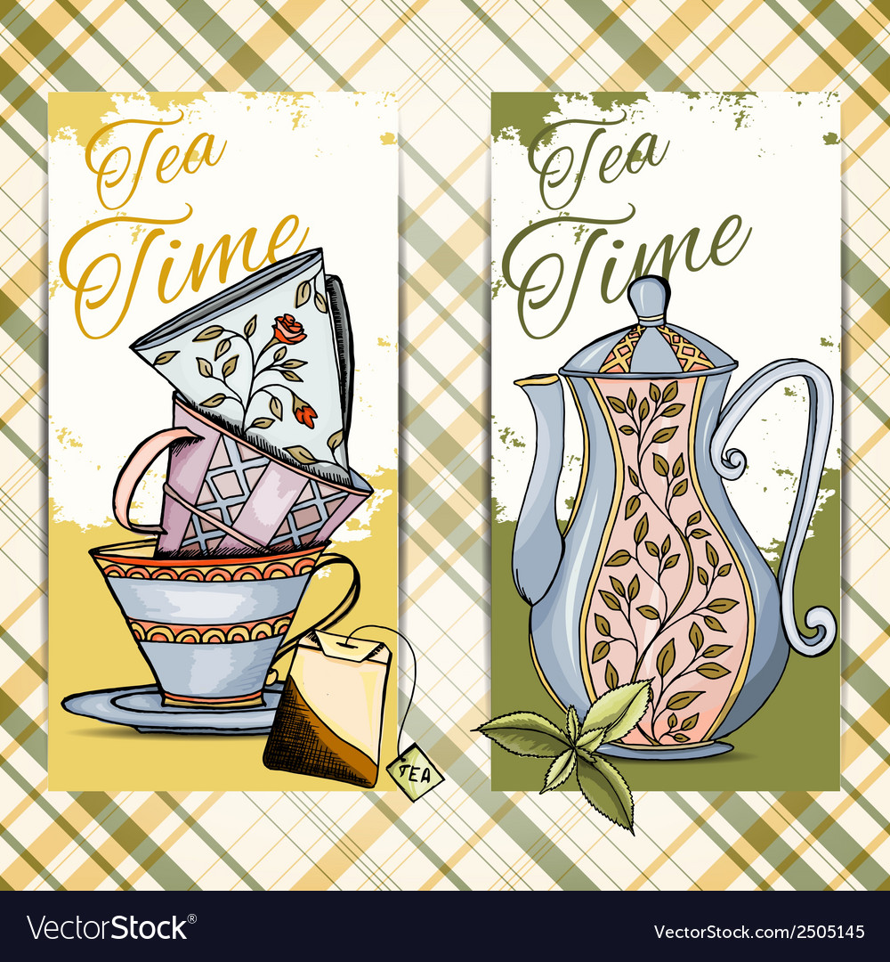 Set of hand drawn tea time cards vector | Price: 1 Credit (USD $1)