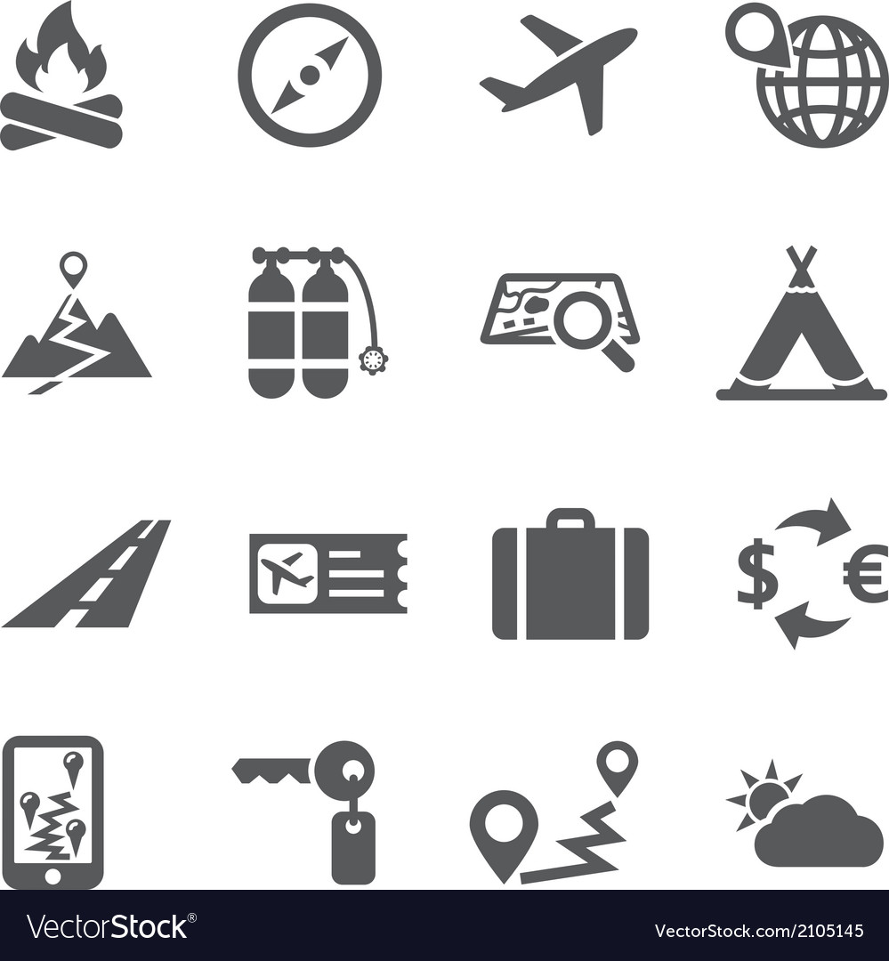 Travel and tourism icon set vector | Price: 1 Credit (USD $1)