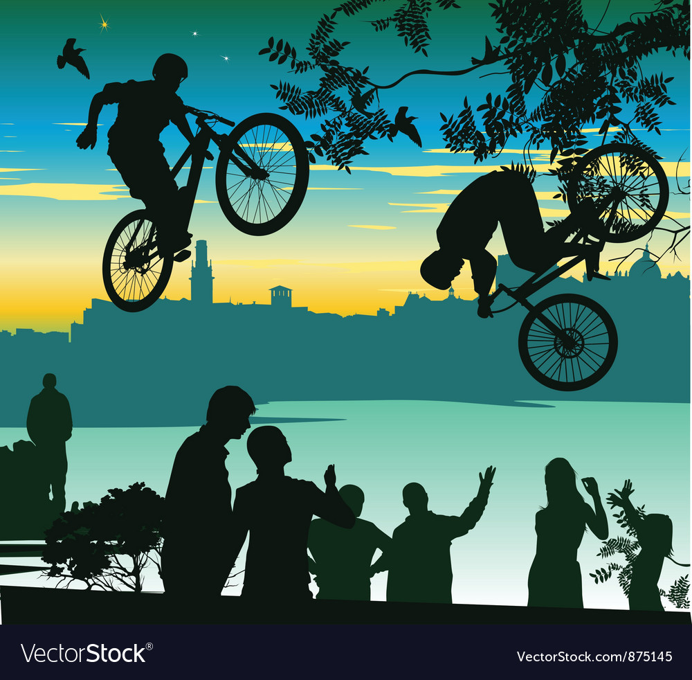 Two cyclists perform a jump over the crowd of vector | Price: 1 Credit (USD $1)