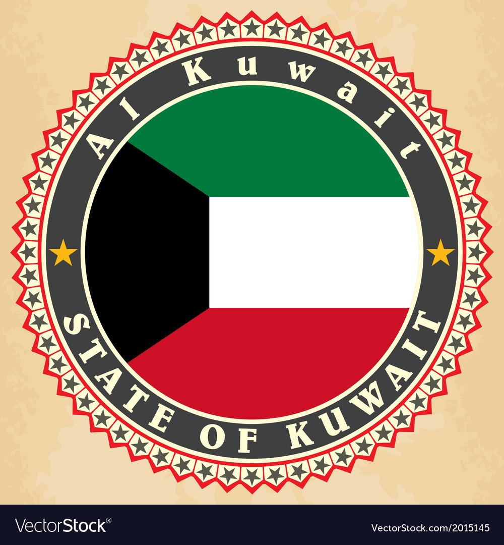 Vintage label cards of kuwait flag vector | Price: 1 Credit (USD $1)