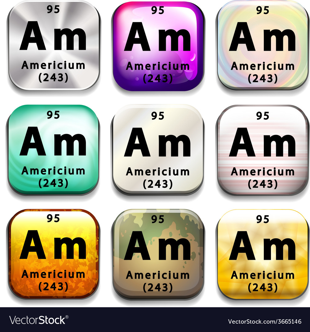 A periodic table showing americium vector | Price: 1 Credit (USD $1)
