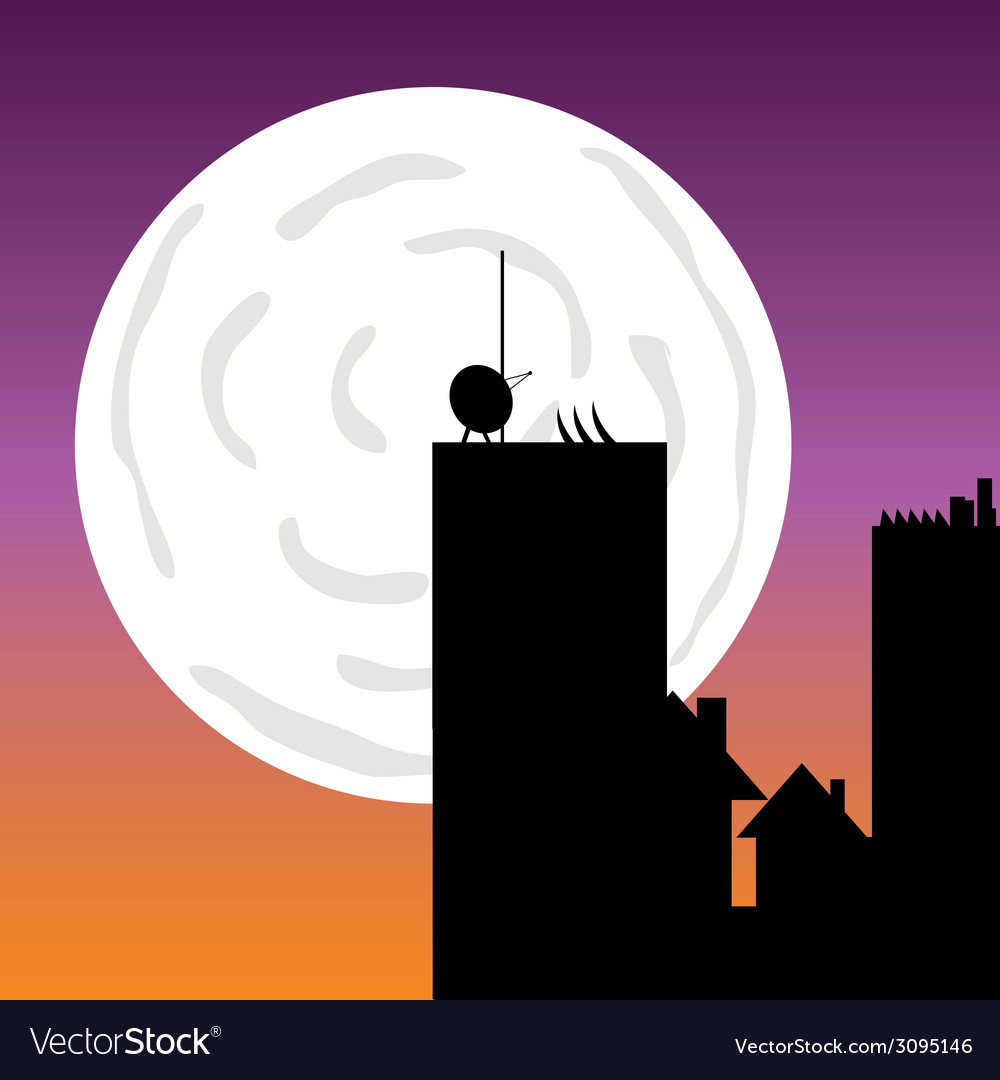 Buildings in the moonlight art color vector | Price: 1 Credit (USD $1)