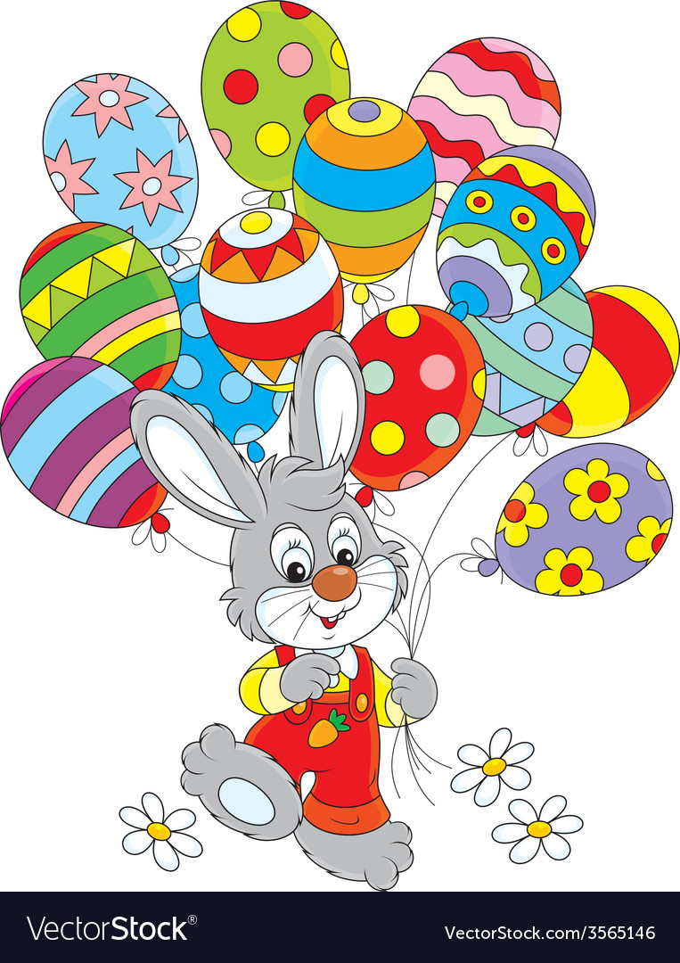 Easter bunny with balloons vector | Price: 1 Credit (USD $1)