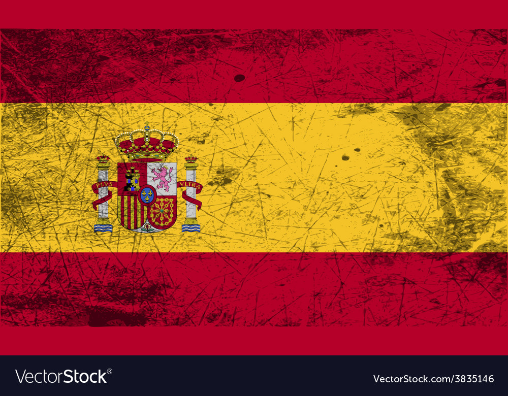 Flag of spain with old texture vector | Price: 1 Credit (USD $1)