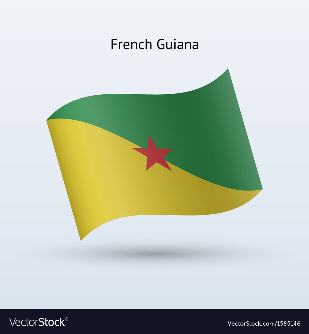 French guiana flag waving form vector | Price: 1 Credit (USD $1)
