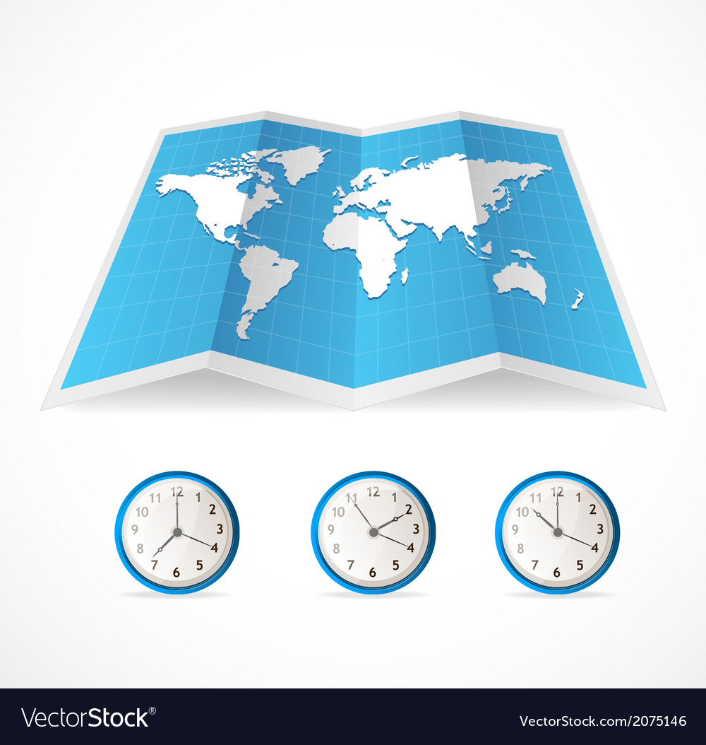 Map icon and world time clocks vector | Price: 1 Credit (USD $1)