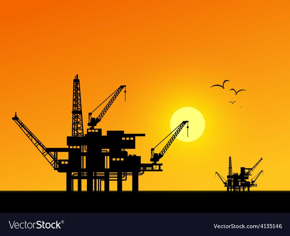 Oil derrick in sea vector | Price: 1 Credit (USD $1)