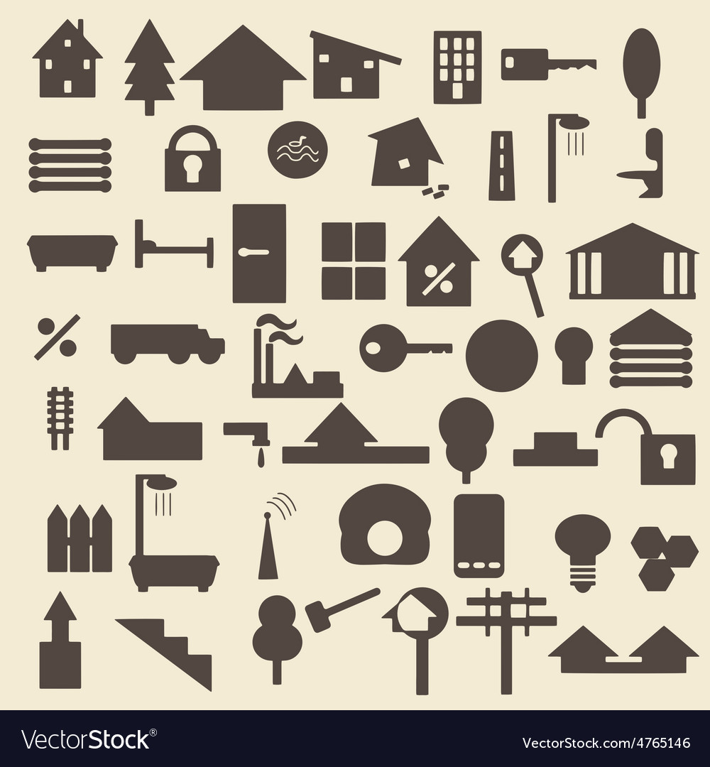 Real estate items silhouette icons set perfect vector | Price: 1 Credit (USD $1)