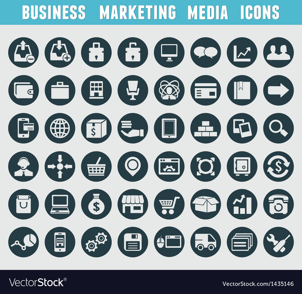 Set of business and marketing icons vector | Price: 3 Credit (USD $3)
