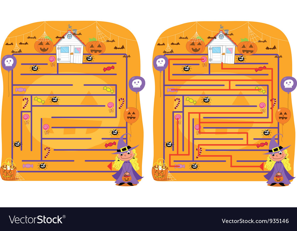 Solved halloween maze game vector | Price: 3 Credit (USD $3)