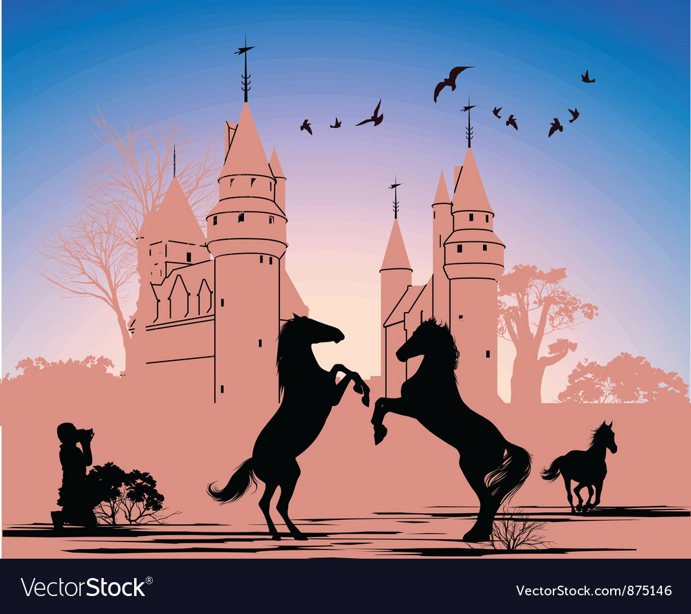 Two horses stand on their hind legs against the vector | Price: 1 Credit (USD $1)