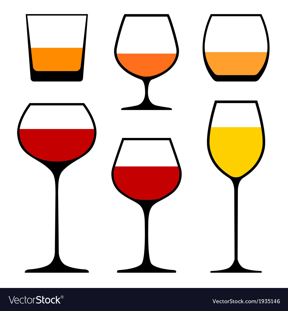 Wine glasses icons vector | Price: 1 Credit (USD $1)
