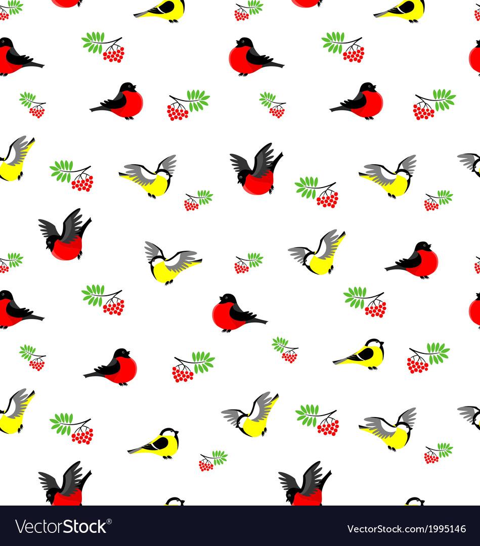 Winter birds pattern vector | Price: 1 Credit (USD $1)