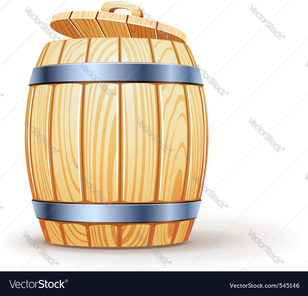 Wooden barrel with lid vector | Price: 3 Credit (USD $3)
