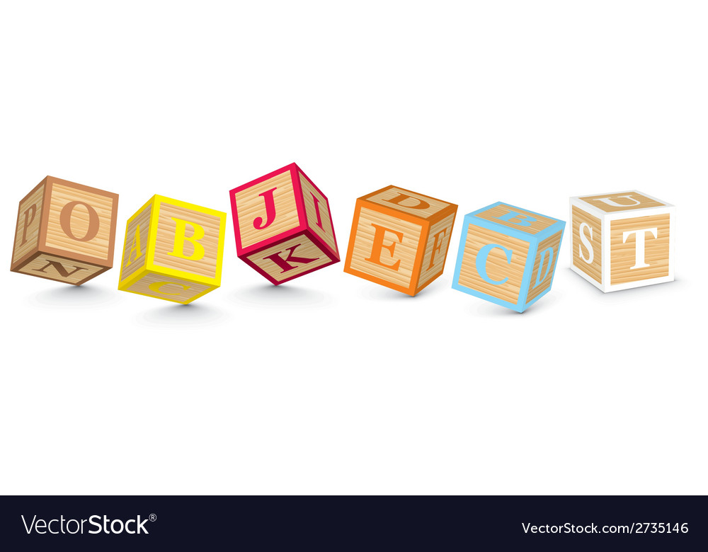 Word object written with alphabet blocks vector | Price: 1 Credit (USD $1)