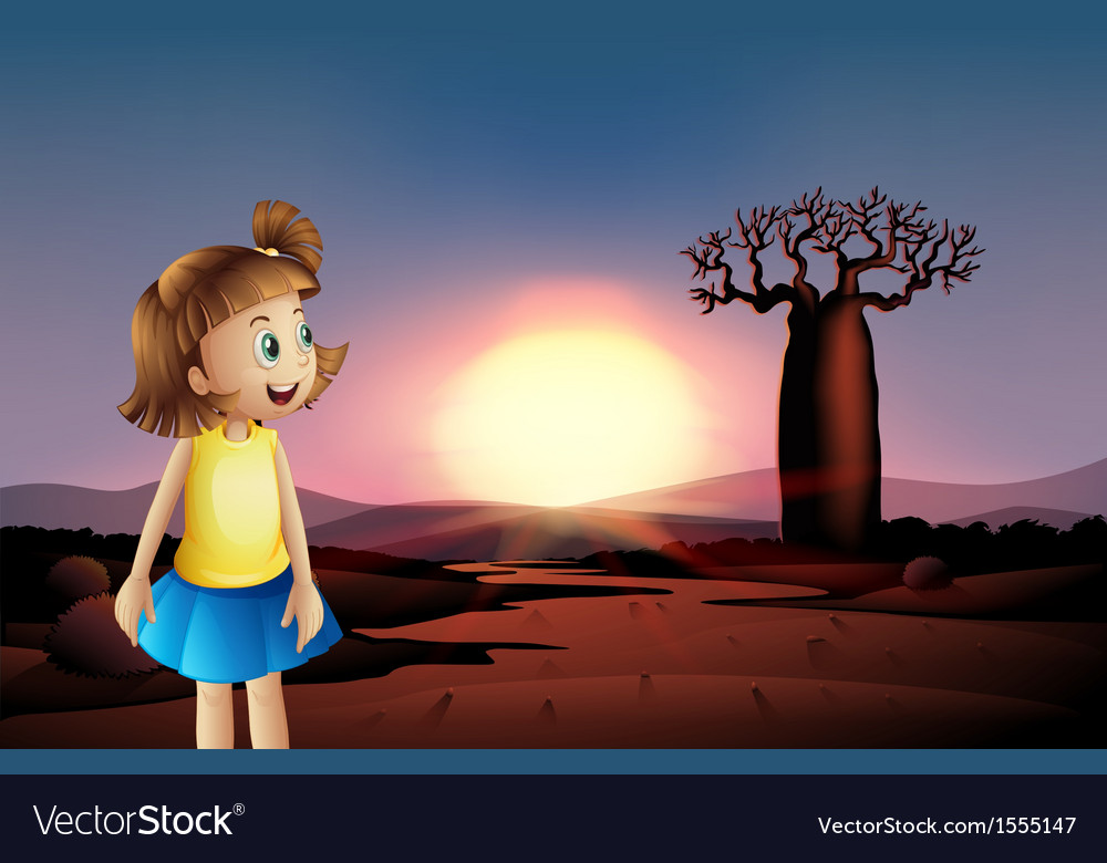 A small girl at the desert wearing a blue skirt vector | Price: 1 Credit (USD $1)