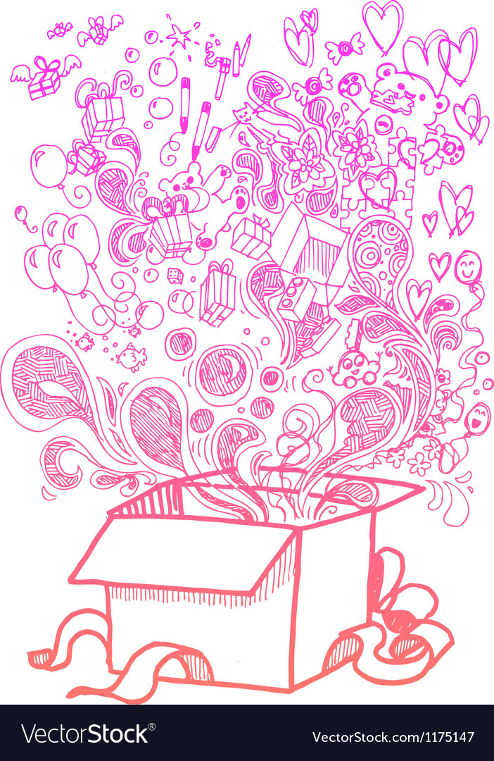 Big present box full of toys sketchy doodle vector | Price: 1 Credit (USD $1)