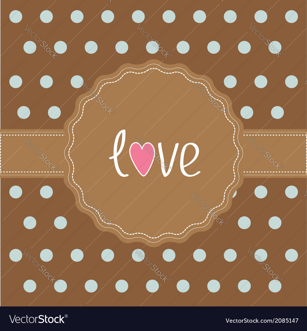 Brown ribbon and label with word love card vector | Price: 1 Credit (USD $1)