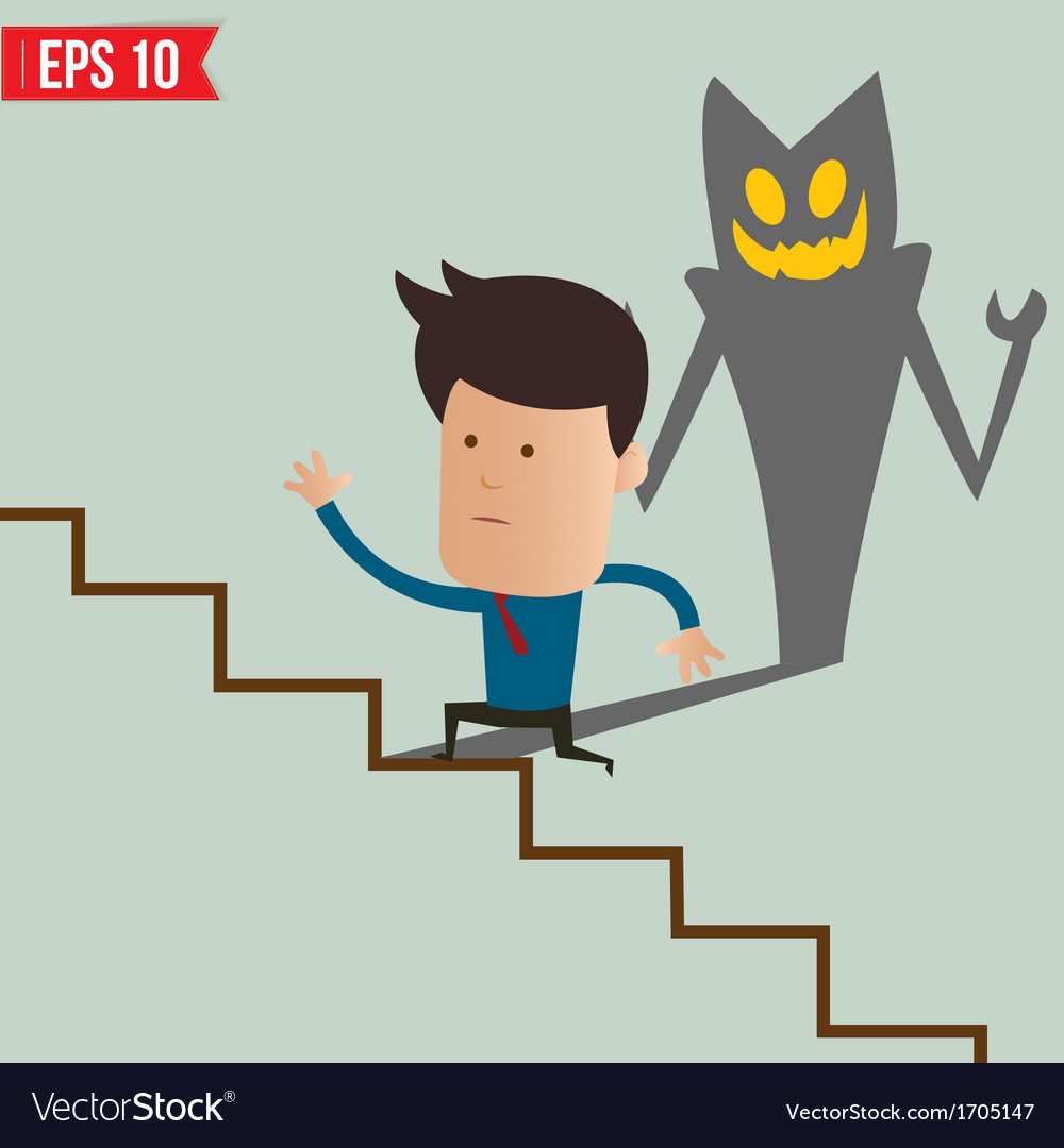 Business man running on the stair - - eps10 vector | Price: 1 Credit (USD $1)