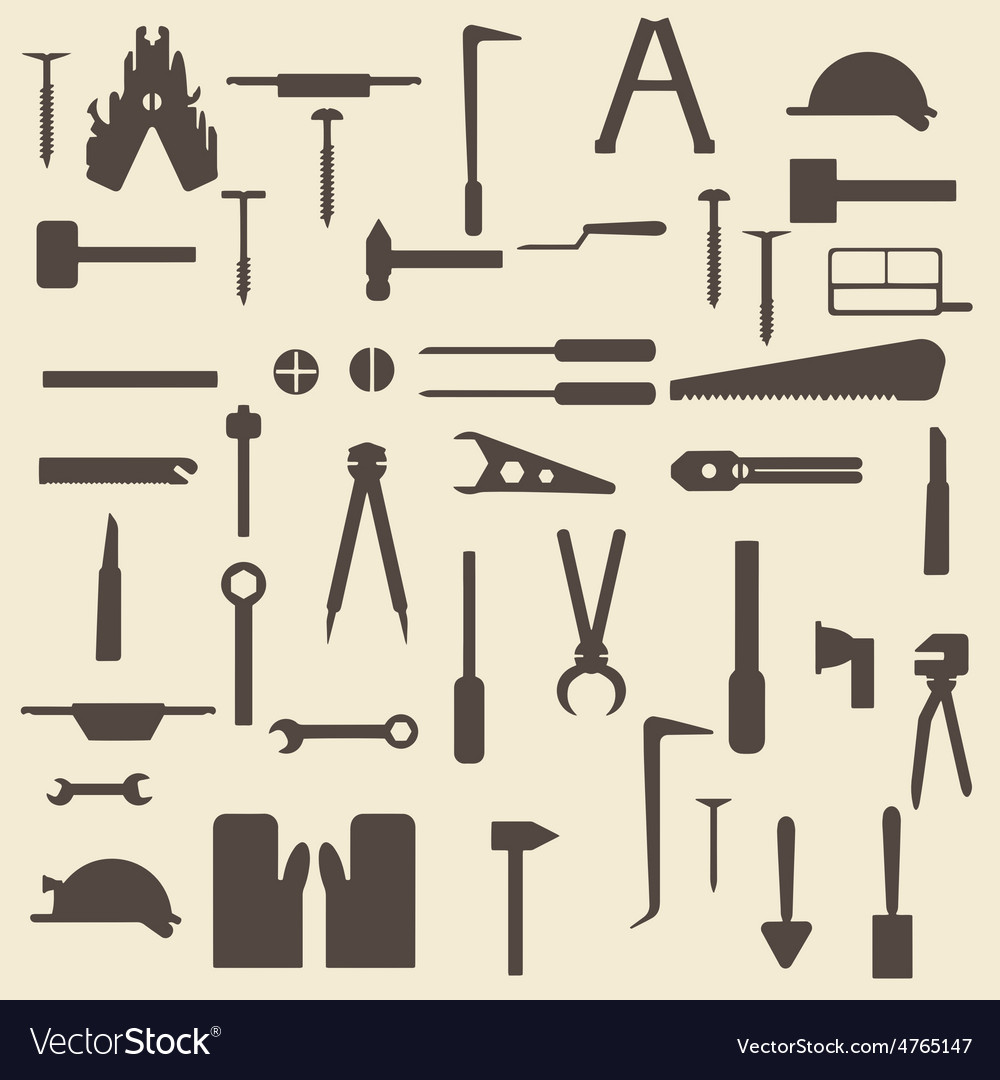 Construction tools silhouette icons set perfect vector | Price: 1 Credit (USD $1)