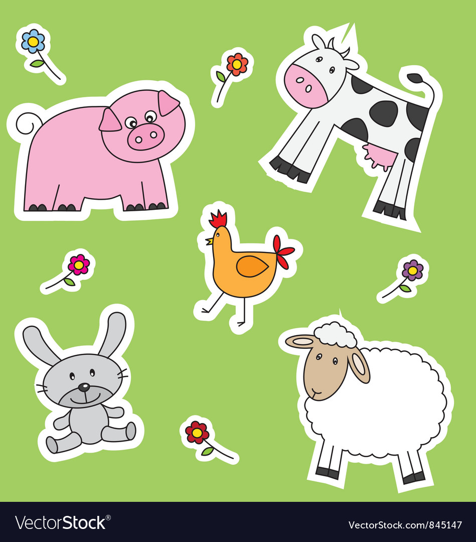 Farm animals background vector | Price: 1 Credit (USD $1)
