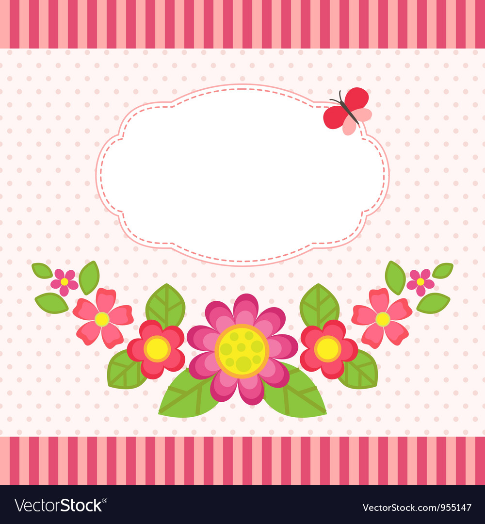 Floral card with a frame vector | Price: 1 Credit (USD $1)