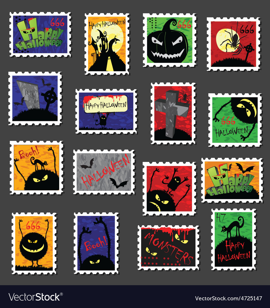 Large set of halloween postage stamps vector   Price: 1 Credit (USD $1)