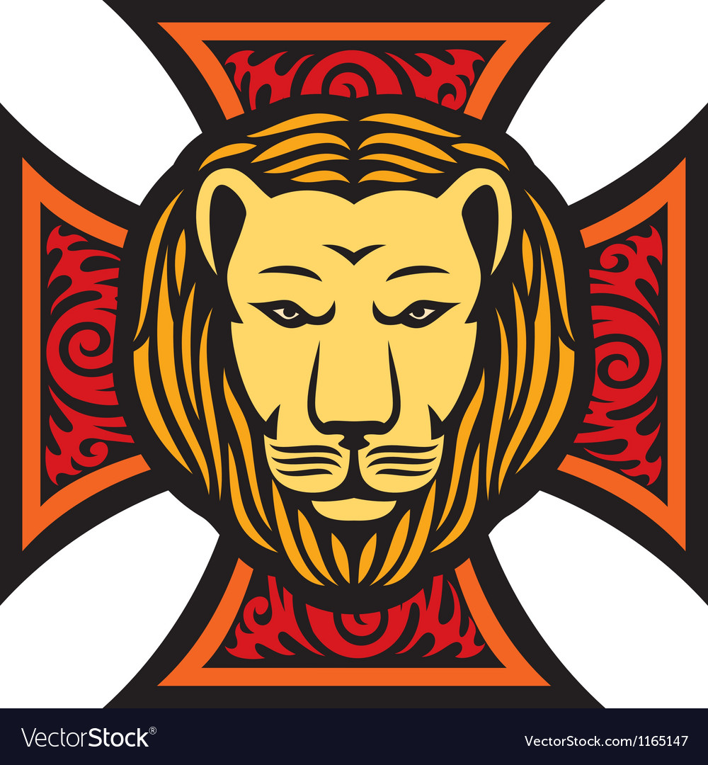 Lion head and iron cross in tattoo style vector | Price: 1 Credit (USD $1)
