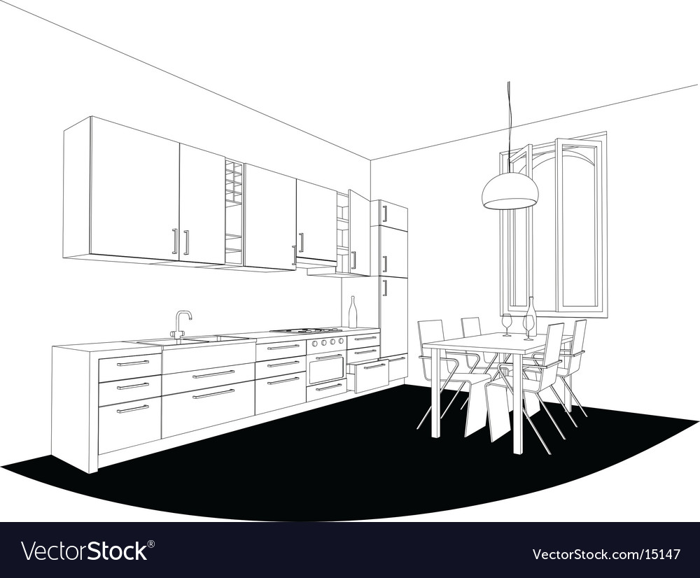 Perspective kitchen vector | Price: 1 Credit (USD $1)