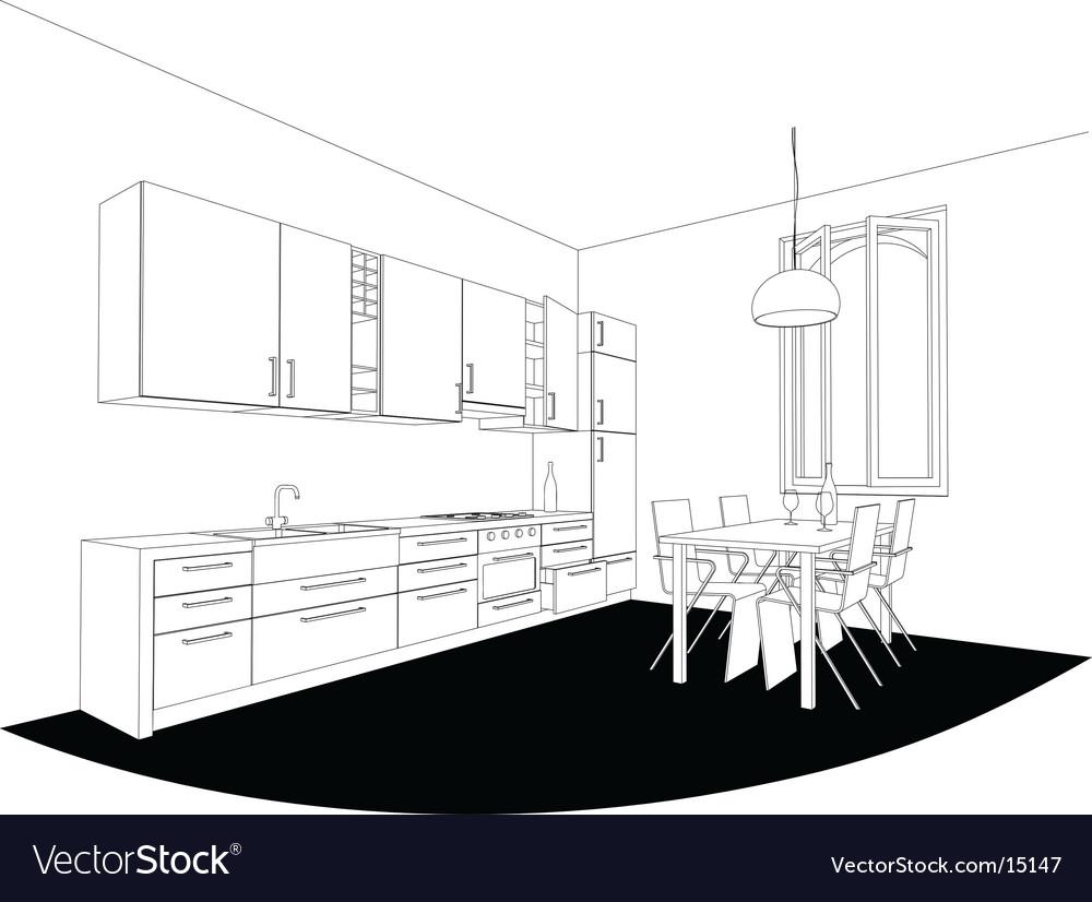 Perspective kitchen vector | Price: 1 Credit (USD $1)